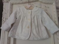 NEXT Age 12-18 months cream soft fleecy feel jacket with silver detail