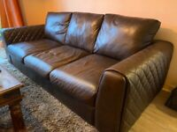 Leather 3 Seater Sofa - (1 yr old with receipt)