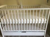 Baby Cot Bed with Drawer White Bed & Deluxe Aloe Vera Mattress