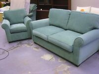 Fabulous Metal Action Sofa Bed Settee and Armchair Suite in Jade from Ponsfords Excellent Condition
