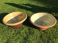 2 large Victorian terracotta pancheon kneading bread bowls, shabby chic