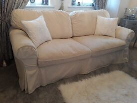 Ektorp 3 seater sofa bed white/cream corduroy finish immaculate condition