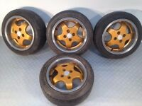"ORIGINAL MIGLIA 15"" 4X100, 7J DEEP DISH ALLOY WHEELS WITH GOOD TYRES, POLISHED NOT ATS BBS BORBET tm"