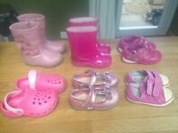 Baby Toddler Shoes With Wellies Size 4.5 - 5.5 Includes Clarks And F&F