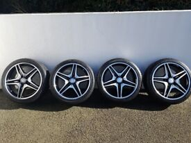 """GENUINE MERCEDES BENZ 18"""" AMG 5 DOUBLE SPOKE ALLOY WHEELS & TYRES FOR CLA CLASS"""