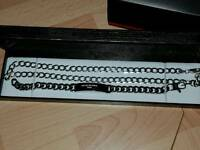 BRAND NEW STERLING SILVER CHAIN AND BRACELET SET