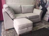 New Marks and Spencer Abbey Corner Chaise Sofa And Storage Footstool In Barvile Weave Natural Fabric