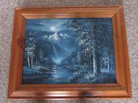 Blue Moonlight Scene Oil Painting Framed in Wooden Frame