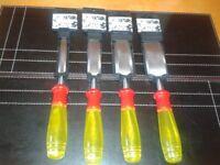 """4 wood chisels 1.1/2+ 1/4;+ 1/2+ 1 """""""