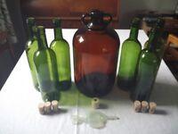 Demijohn, bung, airlock and bottles (home wine making starter kit)
