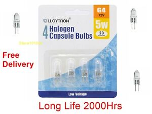 Pack-4-G4-5-Watt-12-Volt-Halogen-Capsule-Lamp-Bulb-5w-12v-Long-Life