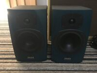 Pair of Tannoy Reveal Active Studio Speakers with Stands and leads