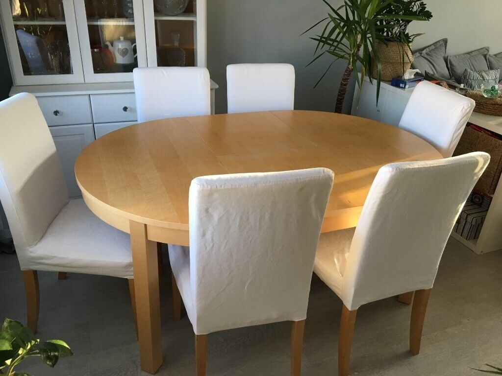 IKEA ROUND EXTENDABLE DINING TABLE x 6 CHAIRS | in Marston ...
