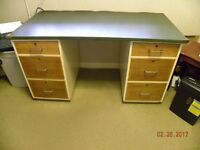 TWIN PEDESTAL DESK - 3 DRAWERS EACH SIDE - GREEN LEATHERETTE TOP- WITH SWIVEL OFFICE STYLE CHAIR