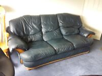 High Quality Blue Leather 3 Seater Sofa