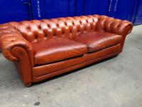 🔥🔥oversized Genuine antique distressed tan leather vintage DFS CHESTERFIELD SOFA RRP £2800 🎉
