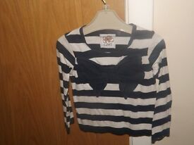 Girls Next Navy Stripe Top Age 2-3