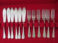 T E Osborne Ltd Silver plated Fish Cutlery Set, 6 knives & 6 forks