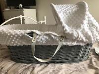 Grey and white Moses basket