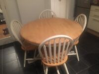 Shabby chic pine extendable dining table with 4 chairs