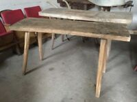 VINTAGE Butchers Block Table Unique Furniture, Side Board Antique Chunky Timber