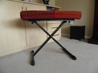 KEYBOARD / PIANO MODERN METAL FRAMED ADJUSTABLE STOOL EXCELLENT CONDITION