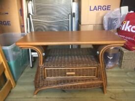 Rattan & wood TV/home entertainment table