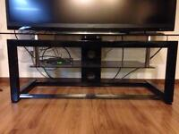 Black metal and glass TV unit