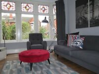 Retro Inspired Grey DFS 'Orbit' 4 Seater Sofa, Armchair & Footstool