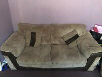 Dfs 3 seater sofa, large armchair & storage pouffe