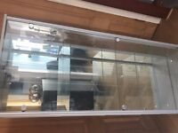 2 Door Glass cabinet with mirrored back and a light