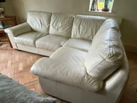 Cream leather corner sofa ( 1 of 2)