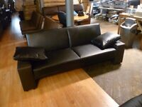 New Black & Brown 3 Seater Leather Sofa Bed (Free Local Delivery)