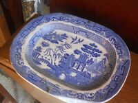 blue and white willow plates