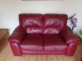 Red leather 3 and 2 seater sofas