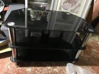 Glass tv stand blck
