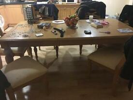 Pine Dining Table & 6 matching chairs £70