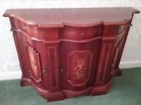 Sideboard unit in polished wood with flower motiff. Italian style.
