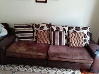 Brown leather and fabric sofa and armchair
