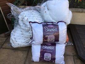 Five double duvets & four pillows