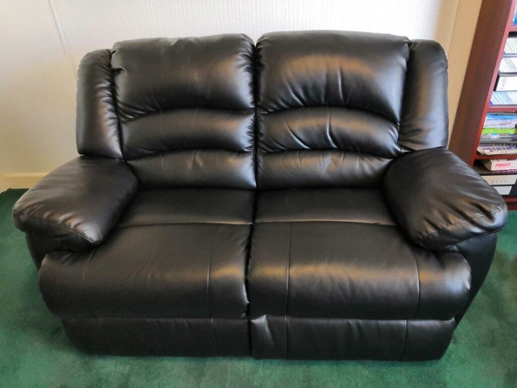 Marvelous 2 Seater Black Leather Sofa Reclines Only Used Couple Of Times Reduced In Price In Sheffield South Yorkshire Gumtree Creativecarmelina Interior Chair Design Creativecarmelinacom