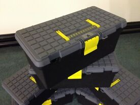 Stanley tool box, with single carry handle and central press shut catch.