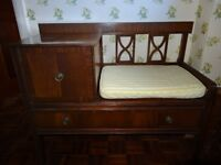 Polished Wooden Seat with Cupboard and Drawer