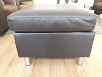 EX display Brown faux leather footstool with chrome feet