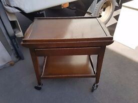 Vintage Mahogany Extending Serving Trolley with 2 removable trays