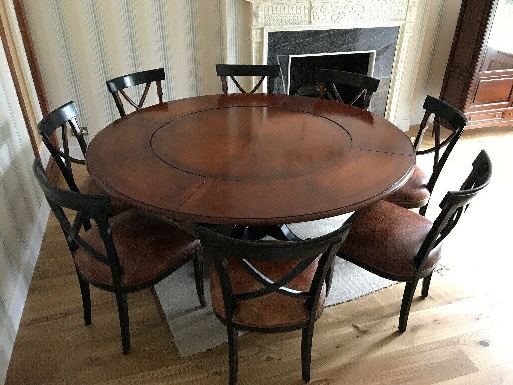 Round Table Seats 8 Diameter: **FURTHER PRICE REDUCTION** Large Round Dining Table And 8