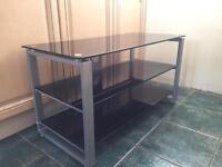TV Stand - Black glass shelves
