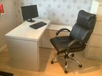 Dwell white silver computer desk and chair