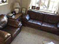 Brown leather sofa and armchair - two piece suite