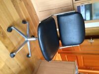Office Chair in Black Faux Leather /Chrome